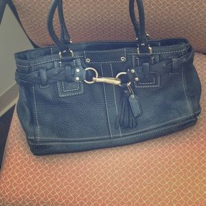 Black coach bag leather